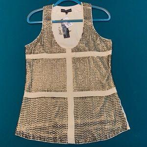 KARINA GRIMALDI Embellished Silk Tank, Size M